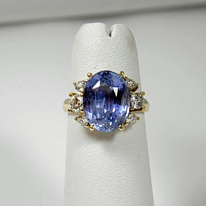 10.80ct Blue Ceylon Sapphire Diamond Engagement Ring Certified No Heat /Untreated 18k Gold