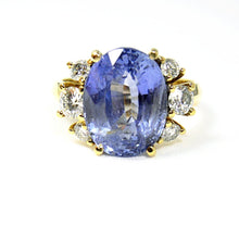 Load image into Gallery viewer, Certified Blue Ceylon Sapphire Diamond Engagement Ring No Heat /Untreated 18k