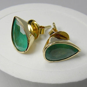 8.48ct Huge Natural Colombian Emerald Stud Earrings 18k Gold ~ 15.00x10.50mm