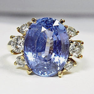 Certified Blue Ceylon Sapphire Diamond Engagement Ring No Heat /Untreated 18k