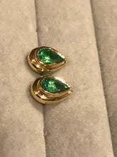 Load image into Gallery viewer, Emerald Dome Stud Pear Cut Earrings 18K Gold