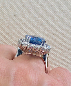 16.00ct GIA Certified Untreated Blue Sapphire Diamond Ring 18K White Gold