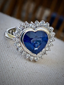 6.35ct Burma Blue Sapphire Diamond Ring Certified 18k