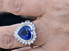 Load image into Gallery viewer, 6.35ct Burma Blue Sapphire Diamond Ring Certified 18k