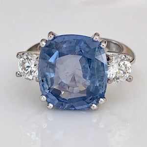 13.20 Carats Ceylon Blue Sapphire Unheated Diamond Ring 18K White Gold