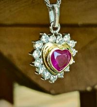 Load image into Gallery viewer, 3.50ct Natural Untreated Burma Ruby Diamonds Heart Pendant 18K Gold