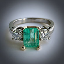 Load image into Gallery viewer, 2.50 Carat Natural Colombian Emerald Diamond Engagement Ring 14K