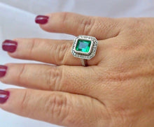 Load image into Gallery viewer, Colombian Emerald Diamond Ring Art Deco Style
