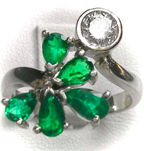 Load image into Gallery viewer, 1.70ct Diamond Emerald Bypass Ring 18k White Gold
