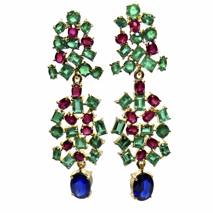Chandeliers Tutti Frutti Burma Sapphire, Ruby and Colombia Emerald earrings