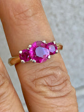 Load image into Gallery viewer, Natural Burma Ruby Three-Stone Ring 18 Karat Gold and Platinum