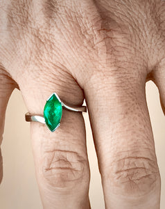 Marquise Natural Colombian Emerald Solitaire Ring 18K