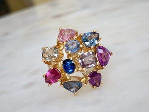 5.67 Carat Untreated Multi Colored Sapphire Ring 18K