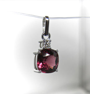 4.00 Carat Raspberry Spinel Diamond Pendant 18k