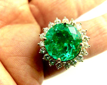 Load image into Gallery viewer, 9.65 Carat Fine Natural Round Colombian Emerald Diamond Ring 18K