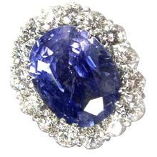 Load image into Gallery viewer, 16.00ct GIA Certified Untreated Blue Sapphire Diamond Ring 18K White Gold