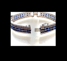 Load image into Gallery viewer, Sapphire Diamond Link Bracelet 18 Karat White Gold Estate Fine Jewelry