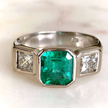 Load image into Gallery viewer, Square Cut Fine Colombian Emerald Diamond Ring 18k White Gold