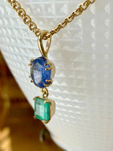 Load image into Gallery viewer, 6.20 Carat Vintage Sapphire Emerald Pendant Necklace 18 Karat