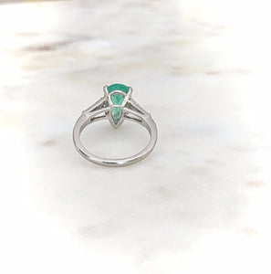 1940s Pear Emerald Diamond Platinum Engagement Ring
