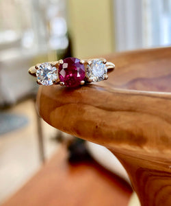 Estate Natural Ruby Diamond Trilogy Ring  Gold