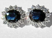 Load image into Gallery viewer, 14.00ct Estate Natural Blue Sapphire Diamond Earrings 18K