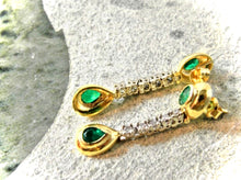 Load image into Gallery viewer, Estate Dangle Emerald Diamond Earrings Gold