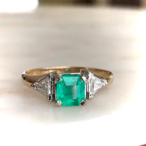 Natural Colombian Emerald Triangular Diamond Three-Stone Engagement Ring