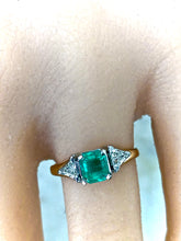 Load image into Gallery viewer, Natural Colombian Emerald Triangular Diamond Three-Stone Engagement Ring