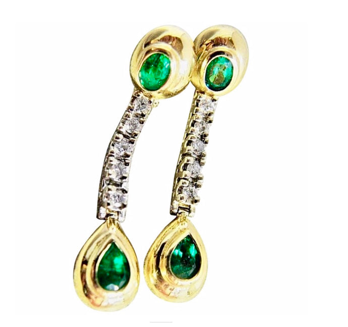 Estate Dangle Emerald Diamond Earrings Gold