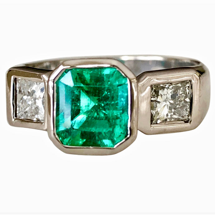 Square Cut Fine Colombian Emerald Diamond Ring 18k White Gold