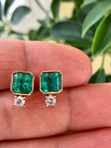 4.00 Carat Natural Square Green Colombian Emerald Diamond Stud Earrings 18K