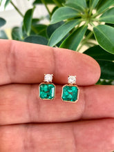 Load image into Gallery viewer, 4.00 Carat Natural Square Green Colombian Emerald Diamond Stud Earrings 18K