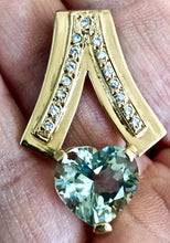 Load image into Gallery viewer, 1980s Estate Mint Green Amethyst Diamond Pendant 18K