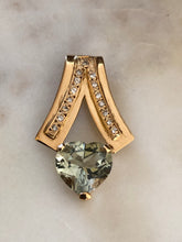 Load image into Gallery viewer, Estate 80s Mint Green Amethyst Diamond Pendant 18k Gold