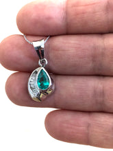 Load image into Gallery viewer, Pear Cut Colombian Emerald Diamond Pendant 18k White Gold