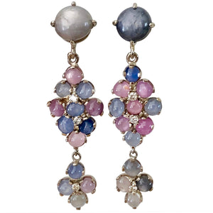 Chandeliers Art Deco Style No Heat Burma Star Sapphire Earrings