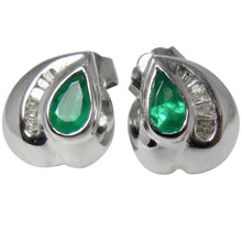 Load image into Gallery viewer, Natural Columbian Emerald & Diamond Stud Earrings 18k White Gold