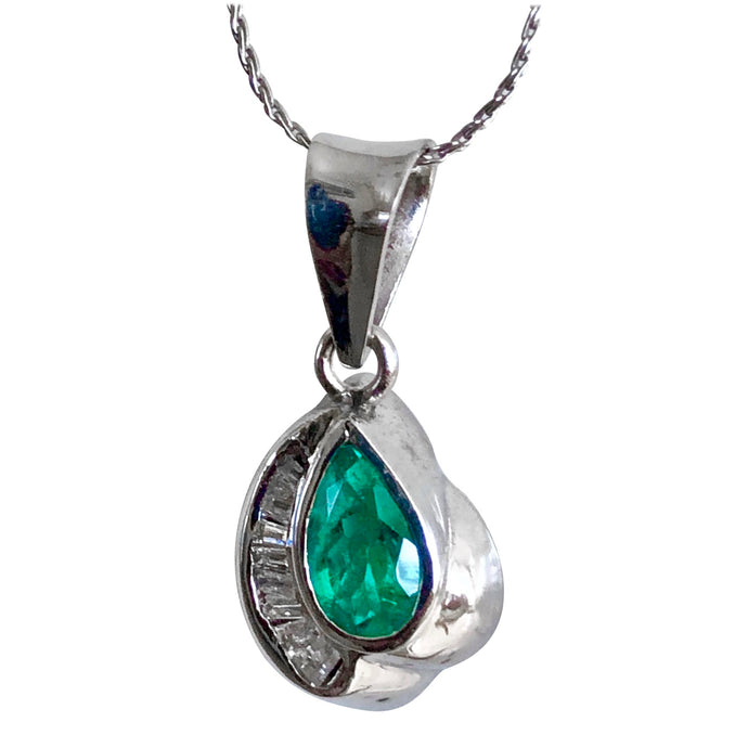 Pear Cut Colombian Emerald Diamond Pendant 18k White Gold