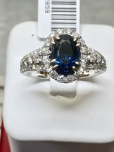Load image into Gallery viewer, GIA 2.82 Carat Sapphire Diamond Halo Engagement Ring 18K White Gold