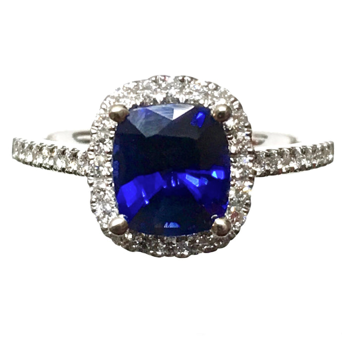2.20 Carat Sapphire Diamond Halo Engagement Ring 14K White Gold