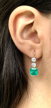 Load image into Gallery viewer, 6.60 Carat Colombian Emerald & Old European Diamond Dangle Earrings