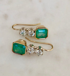 6.60 Carat Colombian Emerald & Old European Diamond Dangle Earrings