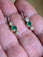 Load image into Gallery viewer, 1.04 Carat Emerald Diamond 18K Gold Platinum Dangle Earrings
