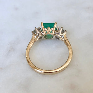 2.33 Carat Natural Colombian Emerald Old European Diamond Engagement Ring 14K