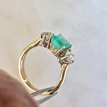 Load image into Gallery viewer, 2.33 Carat Natural Colombian Emerald Old European Diamond Engagement Ring 14K