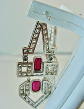 Load image into Gallery viewer, Art Deco Natural Ruby Diamond Platinum Dangle Earrings