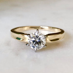 Vintage 0.75 Carat Natural Diamond Engagement Ring 18K & Platinum