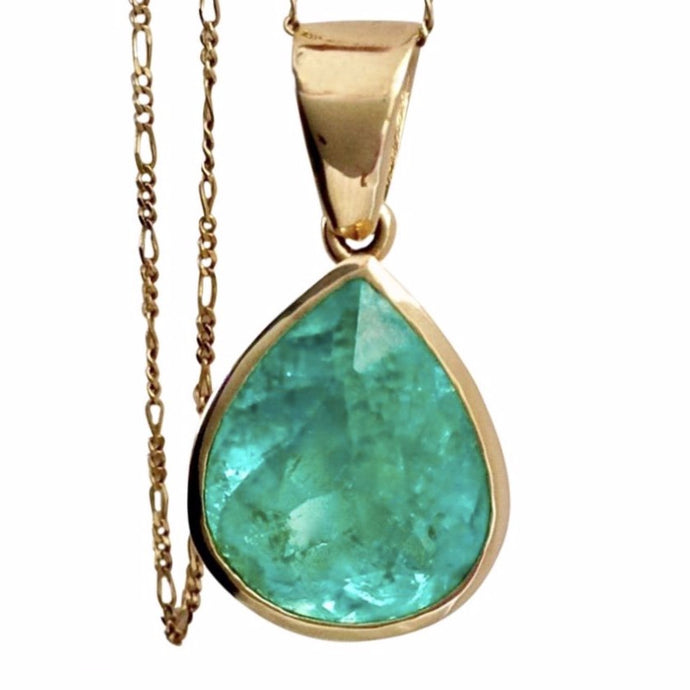 16.50 Carat Certified Natural Colombian Emerald Pendant Necklace