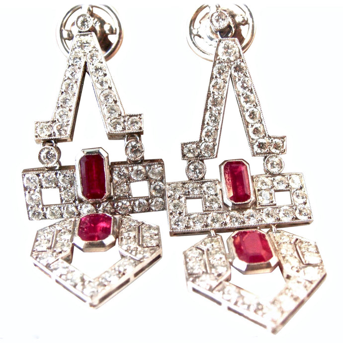Art Deco Natural Ruby Diamond Platinum Dangle Earrings